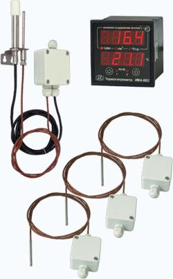 Термогигрометр ИВА-6Б2-К с одним преобразователем влажности ДВ2ТСМ-3Т-1П-А-К (исполнение 1) и тремя преобразователями температуры ДВ2ТСМ-3Т-0П-А-К